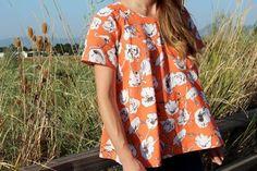 Patron gratuit : une blouse évasée automnale « Blog de Petit Citron