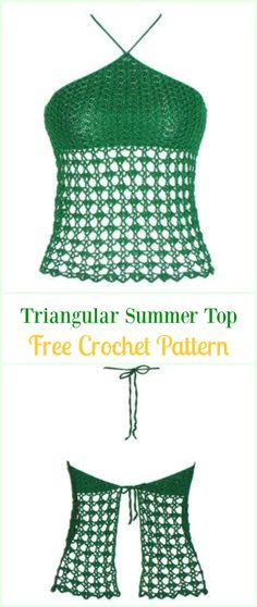 Crochet Triangular Summer Top Free Pattern Video-#Crochet Summer Halter #Top Free Patterns