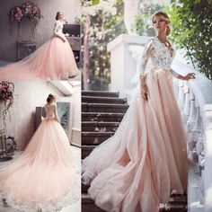 2016 Elie Saab New Fashion Blush Lace Long Sleeve Summer Muslim Wedding Dresses V Neck Chapel Train Lace Applique Cheap Wedding Gown Strapless Lace Wedding Dresses Vintage Designer Wedding Dresses From Gaogao8899, $154.78| Dhgate.Com