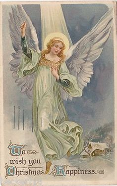 Vintage Antique Angel Christmas Postcard Circa Early 1900