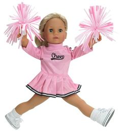 18 Inch Doll Clothes by Sophia's, Fits American Girl Dolls - Doll Cheerleader Outfit Set Includes Pom Poms Doll Accessories & Pink Cheerleader Doll Dress Sophia's http://www.amazon.com/dp/B005PPD1GA/ref=cm_sw_r_pi_dp_KRwewb142W6B4