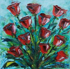 Flower Painting Rose Rose Art Rose Painting by PaletteKnifeArt