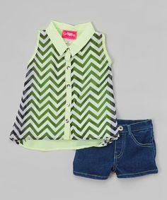 Look what I found on #zulily! Lime Chiffon Sleeveless Button-Up & Denim Shorts - Girls by Girls Luv Pink #zulilyfinds