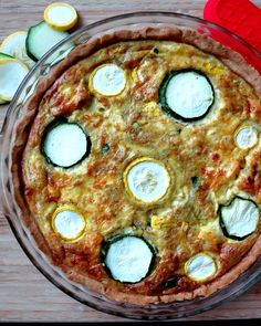 Pesto Infused Summer Squash and Zucchini Quiche
