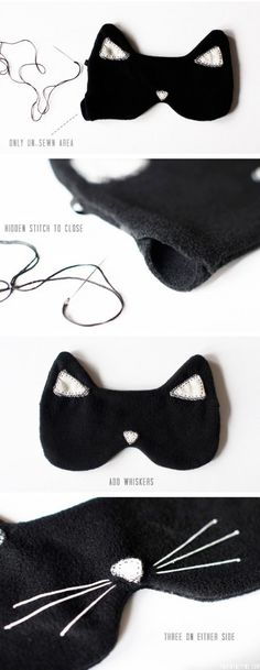 An eye mask provides comfortable and calm sleep anywhere, at any time of the day, and you'll need it especially if you want to have a nap during the day. A cat is a very graceful animal, that's why a cat eye mask is perfect for a girl! The supplies are some black fleece, black...