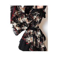Black Floral Japanese Gothic Lolita Kimono Cosplay Dress Clothing SKU-11402006