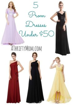 These are beautiful! Some great modest options too!  5-Prom-Dresses-Under-50-A-Thrifty-Mom