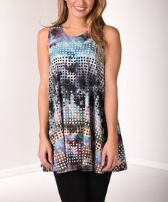 Teal & Purple Polka Dot Abstract Sleeveless Tunic #zulily #zulilyfinds