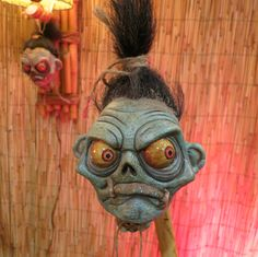 Voodoo Witch Doctor With Shrunken Heads Sculptures by The KreatureKid
