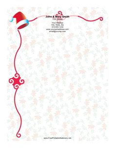This Christmas stationery design includes a red and white Santa hat with a red border along the top and left side. This gently waving border is broken by abstract swirling squares and is set against a background of winter flowers. This Christmas paper is just what you need to send happy messages to all your friends and family. Free to download and print