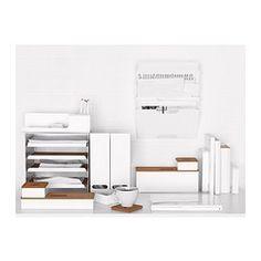 Kvissle desk accessories for IKEA. Design by Lilja Löwenhielm : home office : workspace Ikea Home Office, Home Office Storage, Desk Storage, Storage Boxes, Desk Organization Ikea, Ikea Desk, Ikea Workspace, Modern Magazine Racks, Letter Tray