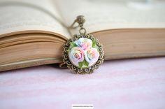 Pastel rainbow roses pendant, Miniature flowers pendant, Handmade tiny floral necklace, Multicolor rose jewelry, #Handmadeblossom