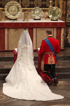 Prince William and Catherine Middleton at the altar during their wedding service in Westminster Abbey on April 29, 2011 in London, England.