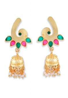 Add glamour to your personality by adorning these beautiful earrings from Ahaarya. The intricate detailing of these earrings looks attractive. Coordinate these earrings with an elegant ethnic outfit and you are ready to make heads turn.