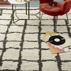 Steven Alan Grid Shag Wool Rug | west elm