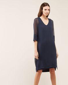 Silk Overlay V Neck Dress