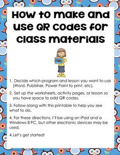Free printable for teacher curriculum writers, How to Make and Use QR Code for Class Materials, opens right on the blog post