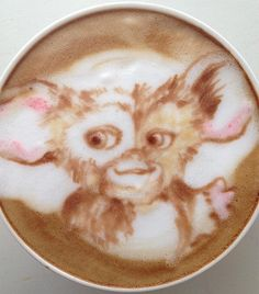 Time for some coffee and friends. Work and no play makes Melvin a dull boy. ;) #coffee #gizmo #gremlins #latteart #mogwai #friends