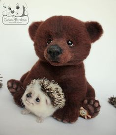Bear and little hedgehog by Award Winning Russian Needle Felter Tatiana Barakova.