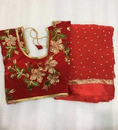 Pearl Georgette saree with stitched blouse