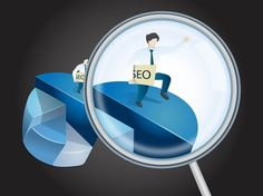 """SEO Icon: Vector graphics of an icon for search engine optimization services. Abstract layout with a large diagram and a man standing on it. Magnifying glass zooming on the man and sheet of paper reading """"SEO"""" in his hand. Free vector icon for Internet, online, websites, search engines and keywords designs.  SEO Vector by LogoOpenStock.com"""