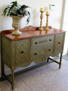 """Stockist Creative Finishes Studio in New Orleans asks """"What wood you do?"""" and shares this gorgeous buffet finished in Chateau Grey Chalk Paint® decorative paint by Annie Sloan!"""