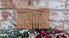 Christmas Card Holder Clothespin Kit  Holly by PurplePirateStudios