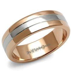Men's 14K Rose Gold & Stainless Steel Wedding Band Ring