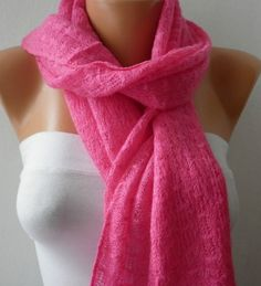 Knitted Scarf  Cotton Scarf  Headband  Cowl   Hot Pink by fatwoman, $19.00
