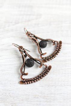 Wire wrap earrings copper earrings lava by LenaSinelnikArt on Etsy