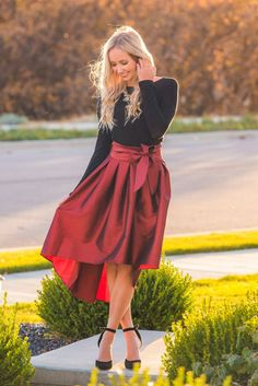 Claira High Low Skirt The perfect Holiday pieces. www.sexymodest.com #holiday #christmas #longhair #hairextensions #boutique #winterstyle #caraloren