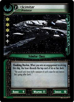 """""""•Scimitar, Predator"""" [1 R 413] from the STAR TREK CUSTOMIZABLE CARD GAME 2nd Edition by DECIPHER 
