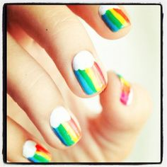 Rainbow nails Half moon cloud with rainbow strips