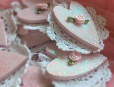Pink Valentines Day Heart Shape Crochet Doily Rose Shabby Chic Decoration Gift
