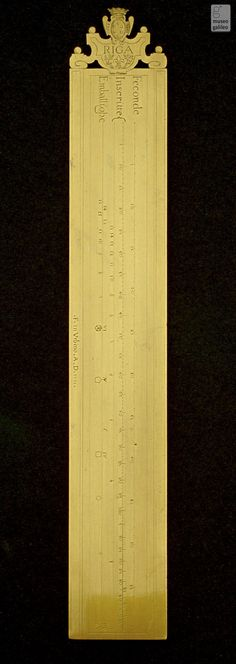 Graduated ruler 1661. CARRY'S THE MEDICI COAT OF ARMS. ENGRAVED WITH DIFFREENT SCALES OF PROPERTION