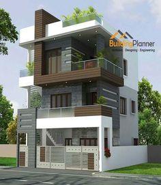 2 Storey Building Elevation Design Modern House Floor Plans, Modern Exterior House Designs, Duplex House Plans, Modern House Design, Home Design, Plan Design, Indian House Designs, 3d House Plans, Design Ideas