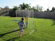 "PVC water play project - would be cool for a ""bike wash"" too."