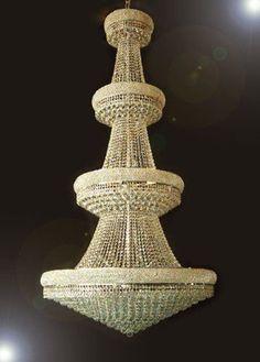 Swarovski Crystal Trimmed Chandelier! Gold Empire Crystal Chandelier Chandeli... - A93-Cg/541/48 Sw