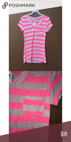 BRAND NEW STRIPED T-SHIRT (qty: 5) Super cute and casual t-shirt with small breast pocket. Neon pink and heather grey. Brand new with tags - just taken out of the packaging. There are multiple of this style and color! Let me know if you have any questions Tops Tees - Short Sleeve