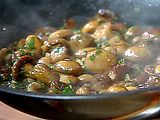Michael Chiarello's Best Button Mushrooms Recipe... a little painstaking for just sauteed mushrooms, but so worth it in the end!