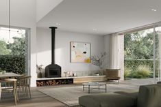The First Ruum Collection by Chamberlain Architects featuring Fisher & Paykel appliances. A new model redefining the path to architect-designed homes in Melbourne. Contemporary Architecture, Interior Architecture, Interior Design, Architect Design House, Gable House, Freestanding Fireplace, Storey Homes, Fireplace Design, New Homes