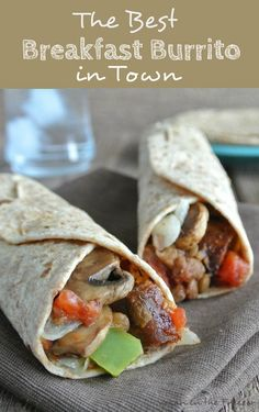 The Best Breakfast Burrito in Town!  A veggie packed bundle of goodness. This burrito is layers of flavor upon flavor and served up for breakfast.