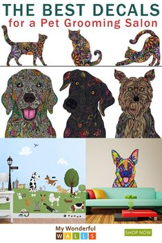 LOVE these easy-to-apply decals for a pet grooming salon. So many colorful cats and dogs! Fill up the walls with these stickers / wall decals with FUN cats and . Dog Grooming Styles, Dog Grooming Shop, Dog Grooming Salons, Dog Grooming Business, Pet Spa, Dog Salon, Cat Colors, Dog Daycare, Wall Decals