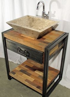 A nice, compact bathroom vanity, night stand or side table made from reclaimed salvaged outrigger canoe fishing boat wood.