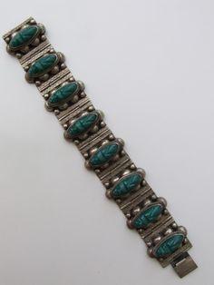 Vintage 20's-40's sterling zilveren Mexicaanse armband met Azteekse krijgers - Costume jewelry en sieraden - Vintage