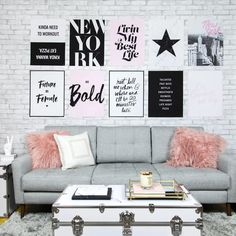 Grey and White Brick Removable Wallpaper Teen Lounge Rooms, Teen Hangout Room, Girl Apartment Decor, Single Girl Apartment, Girls Bedroom, Bedroom Decor, Bedroom Ideas, Master Bedroom, Woman Cave