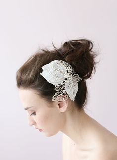 Lace and sparkle leaf hair clip from Twigs & Honey