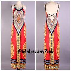 """Memorial Day Sale """"South Tribe"""" Maxi Dress NWOT. Tribe print maxi has a graceful side split with open adjustable strap cross back. Boutique fashion quality and super gorgeous  95% Polyester 5% Spandex. Available in sizes: Small, Medium and Large. YOU MAY PURCHASE THIS LISTING! ❤️ Dresses Maxi"""