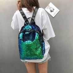 aec045bd23 Glitter Bling Sequins Backpack Women Large Capacity Mochila Feminina 2018  Leather Backpack For Girls Travel School Bags XA113H
