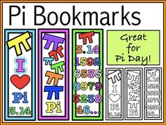 Add some fun to your classroom any day with these eye-catching bookmarks, or use them as a Pi Day activity!